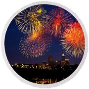 Fireworks In The City Round Beach Towel