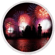 Fireworks Round Beach Towel by Nishanth Gopinathan
