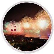 Fireworks Over Kuwait City Round Beach Towel