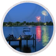 Fireworks Over Stony Creek Round Beach Towel by Brian Wallace