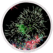 Fireworks Over The Bay Round Beach Towel