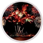 Fireworks Over The Delaware Round Beach Towel by Nick Zelinsky