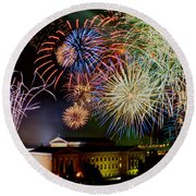 Fireworks Over The Museum Round Beach Towel