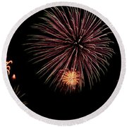 Fireworks Panorama Round Beach Towel by Bill Cannon