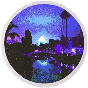 Fireworks Venice California Round Beach Towel by Jerome Stumphauzer