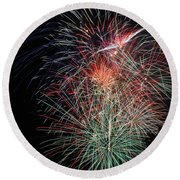 Fireworks6504 Round Beach Towel