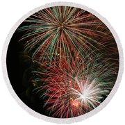 Fireworks6509 Round Beach Towel