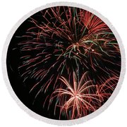 Fireworks6525 Round Beach Towel