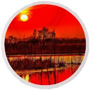 Firey Dawn Over The Marsh Round Beach Towel