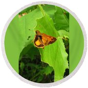 Firey Skipper Butterfly Round Beach Towel
