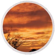 Firey Sunset Round Beach Towel