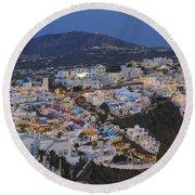 Firostefani At Night Santorini Cyclades Greece  Round Beach Towel
