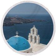Firostefani Church On Santorini Round Beach Towel
