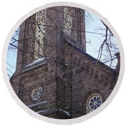 First Baptist Church Round Beach Towel