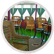First Class Lounge In S S Klondike On Yukon River In Whitehorse-yt Round Beach Towel