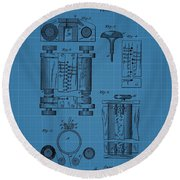 First Computer Blueprint Patent Round Beach Towel