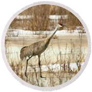 First Crane Round Beach Towel