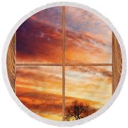 First Dawn Barn Wood Picture Window Frame View Round Beach Towel
