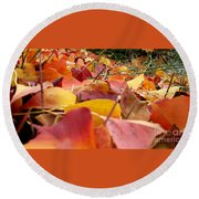First Day Of Fall Round Beach Towel