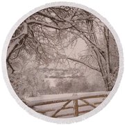 First Fall Of Snow Round Beach Towel