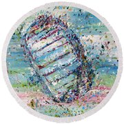 First Foot On The Moon Round Beach Towel