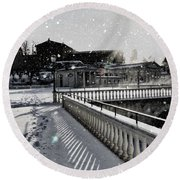 First Footsteps In The Snow Round Beach Towel