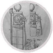 First Gas Pump Patent Drawing Round Beach Towel