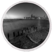 First Hint Of Sunlight In Black And White Round Beach Towel