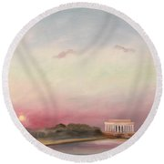 First Inaugural Sunset 20 January 2009 Round Beach Towel by William Van Doren