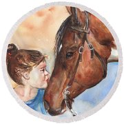 Horse Painting Of Paint Horse And Girl First Kiss Round Beach Towel