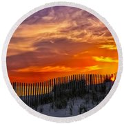 First Light At Cape Cod Beach  Round Beach Towel