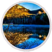 First Light At Pinnacle Lake Round Beach Towel