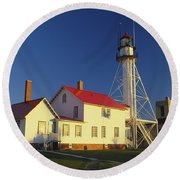 First Light At Whitefish Point Round Beach Towel