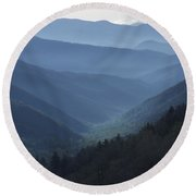 First Light On Clingman's Dome Round Beach Towel