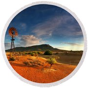 First Light On Wilpena Pound Round Beach Towel
