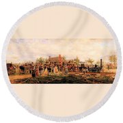 First Railroad Train On The Mohawk And Hudson Round Beach Towel