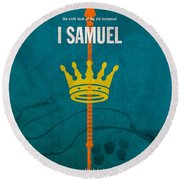 First Samuel Books Of The Bible Series Old Testament Minimal Poster Art Number 9 Round Beach Towel by Design Turnpike