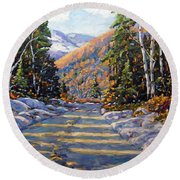 First Snow By Prankearts Round Beach Towel