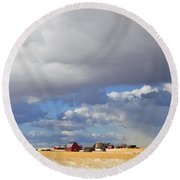 First Snow On Storybook Farm Round Beach Towel