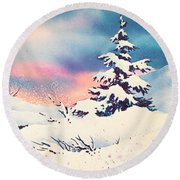 First Snow Round Beach Towel
