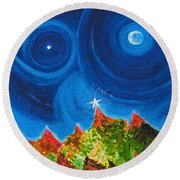 First Star Christmas Wish By Jrr Round Beach Towel by First Star Art