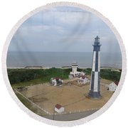 First State Landing  Lighthouse Round Beach Towel