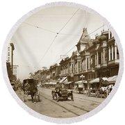 First Street Downtown San Jose California Circa 1905 Round Beach Towel