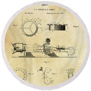 First True Motion Picture Projector Patent  1897 Round Beach Towel