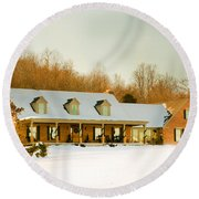 First Winter Snow Round Beach Towel