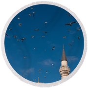 Firuz Aga Mosque Seagulls Round Beach Towel