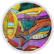 Fish And Chips Round Beach Towel
