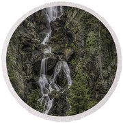 Fish Creek Falls Round Beach Towel