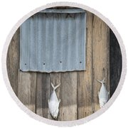 Fish Drying Outside Fisherman House Round Beach Towel