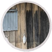 Fish Drying Outside Rustic Fisherman House Round Beach Towel